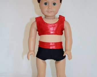 """American Girl 18"""" Doll - Cheerleader Sports Bra and Shorts - Red Mystique and Black Outfit"""
