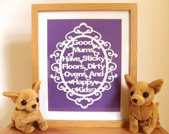 Funny Gift for Mum / Mom Paper Cut - Unframed, Choose Your Colours