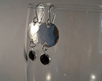 Hammered Silver Earrings/Silver Filled Metal with Sterling Silver Ear Wires