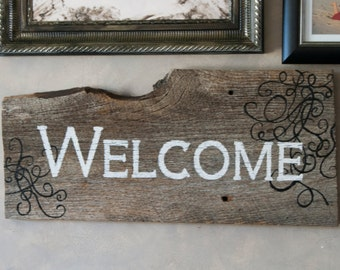 Hand Painted Barn Wood Welcome Sign