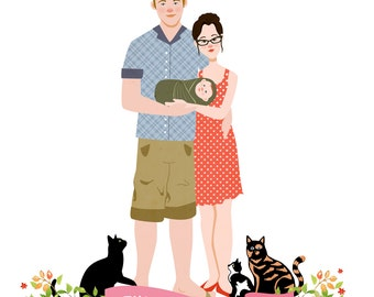 Custom Illustrated Family Portrait - Digital File