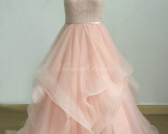 Romantic Blush pink A line tulle wedding dress with Swarovski beads