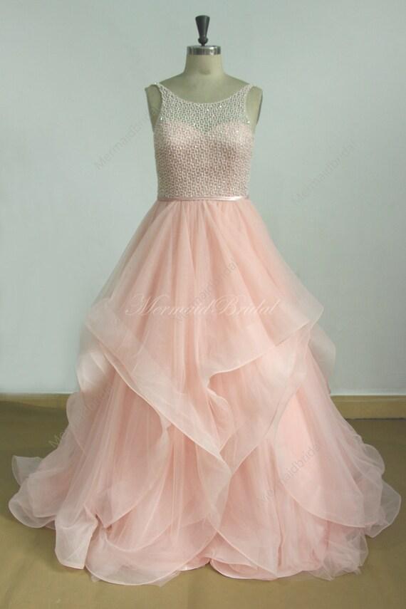 Blush Tulle Wedding Dress : Romantic blush pink a line tulle wedding dress by