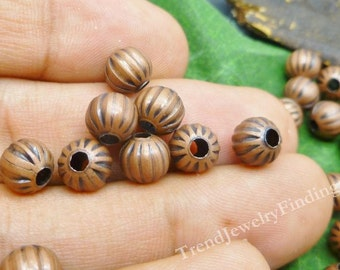 25 Antique Copper Round Beads - Corrugated Beads - Metal Beads for Jewelry Making -MB004