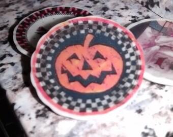 Dolls House miniature ceramic plate. Halloween big pumpkin