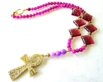 Raspberry Jade Egyptian Ankh Necklace, Gemstone Beaded Statement Necklace, African Inspired Necklace
