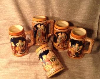 5 Japan Beer Steins - Drinking Mugs