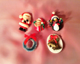 5 Christmas Pins - Hallmark, Russ - Santa Claus, Teddy Bear in Present, Penguin with Lights, Wreath, Bells - Ugly Sweater, Kids, Teacher