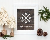 Snowflake Art, Christmas Decor, Faux Wood Art Print on Paper, Christmas Sign, Let It Snow