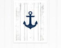 Anchor Guest Book, Beach Wedding Guest Book Alternative for Summer Wedding, Nautical Wedding, Navy Blue Anchor Poster with Wood Design