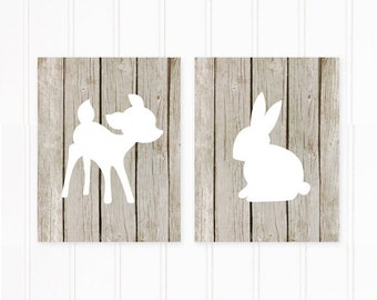Nursery Art Prints, Woodland Nursery Prints on Paper, Faux Wood Art Print of Deer and Bunny, Modern Nursery Wall Decor