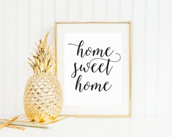 Home Sweet Home, Calligraphy Art Print, Housewarming Gift, Entryway Decor, Script Art Print