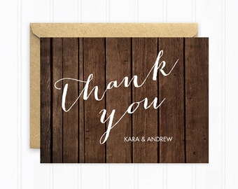 Rustic Wedding Thank You Cards, Wood Wedding Stationery with Dark Wood Background