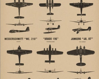 WW2 Vintage Style Plane Spotting Poster Chart Aircraft Recognition German Luftwaffe Fighters and Bombers