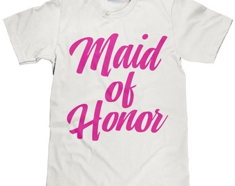Maid of Honor T Shirt - Wedding Party Tee - MOH - Pink Lettering - Item 1816