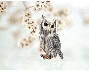 eagle owl, brooch eagle owl, owl, pin owl, drawing jewelry