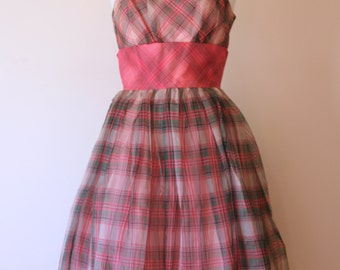 Vintage 1950s Pink Green Plaid Silk organza Prom Party Wedding Dress