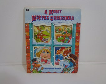 A Merry Muppet Christmas Children's Through the Window Vintage Board Book from 1993 Jim Henson Productions, Gifts Under 5