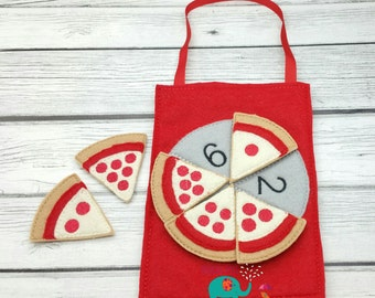 Pizza Counting game embroidered, montessori, home school, homeschool, math game, counting game, children, toy, learning, educational