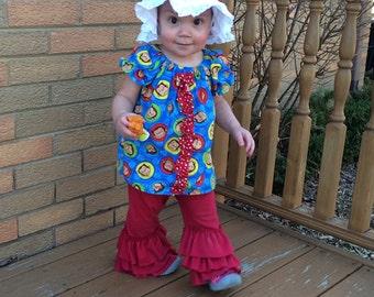 Ruffled leggings Matilda Jane inspired maroon and many colors size newborn to tween 16