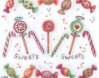 4 Christmas Napkins |Candy Napkins | Decoupage Napkins | Birthday Party Napkins | Paper Napkins for Decoupage