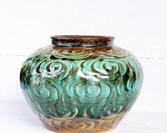 Vintage Handmade Vu Thang Tan & Seafoam Pottery Vase