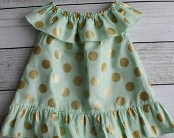 Mint and Gold Polka Dot Ruffle Dress - Various Sizes