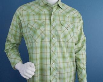 """Sears """"Westerner"""" Plaid Western Shirt"""