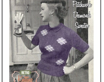 1950s Patchwork Diamond Sweater -  Knitting Pattern - Instant Download