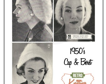 1950's Beret and Cap Knitting Pattern - PDF  Instant Download