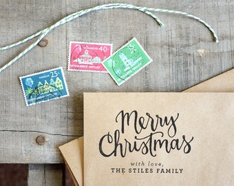 Merry Christmas Rubber Stamp on Wood Mount, With or Without Personalized Names, Holiday Gift Tag Stamp
