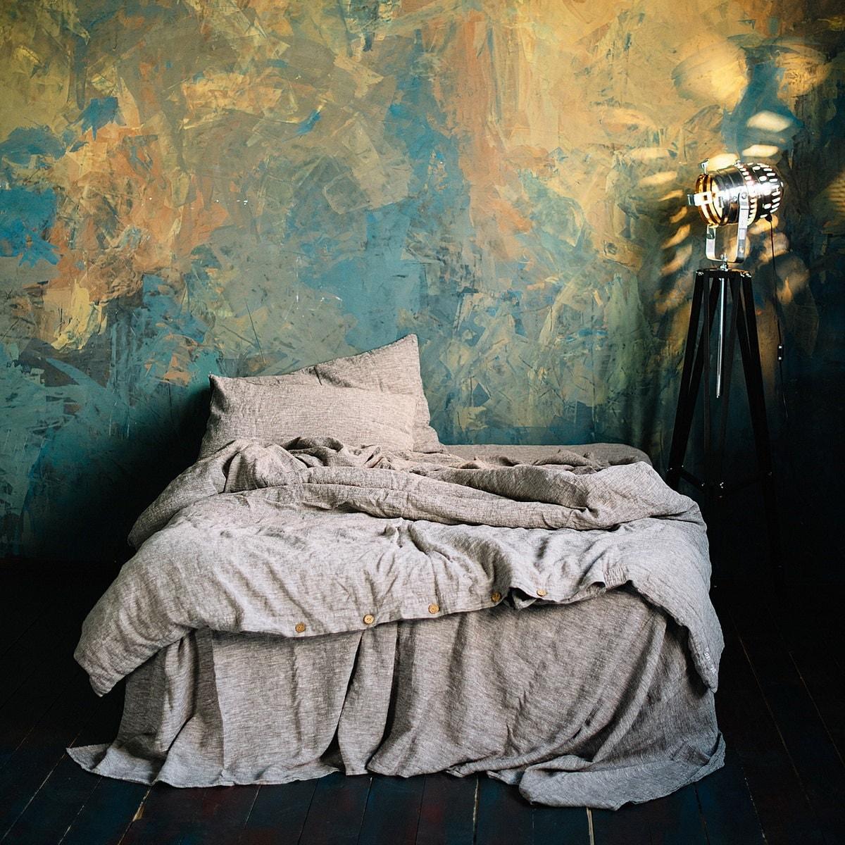 linen duvet cover dark gray duvet cover with by lenoklinencom. Black Bedroom Furniture Sets. Home Design Ideas