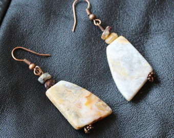 Earrings, Yellow and Grey, Crazy Lace Agate,  Copper Dangle Earrings