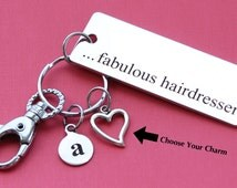 Personalized Hairdresser Key Chain STAINLESS STEEL Customized with Your Charm & Initial