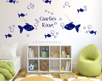 42 X Bubble Fish Wall Stickers Personalized Name Nursery Room Vinyl Wall  Decals Part 49