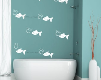 35 pice bubble and fish wall stickers kidu0027s bedroom washroom showerroom vinyl tile decals
