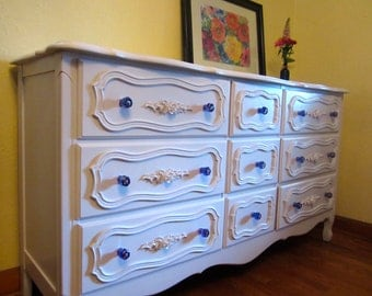White Vintage French Provincial Triple Dresser with Carnival Glass Knobs