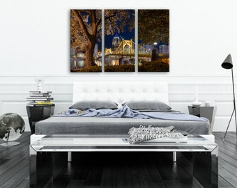 Sprung Re-Envisioned North Shore Pittsburgh Skyline Float Mount Photo Metal Print Triptych - Photograph Picture Cityscape