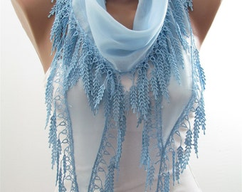 So soft Cotton Scarf Light Blue Scarf Shawl Cowl Scarf with Laced Bridesmaids Gifts Women's Fashion Accessories Christmas Gifts For Her