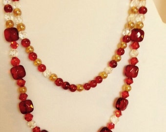 Garnet squares hand beaded necklace