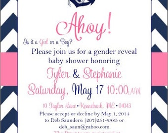 Nautical Gender Reveal Baby Shower Invitations