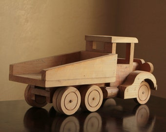 Large solid pine wood dump truck with rotating wheels / wooden construction toy truck