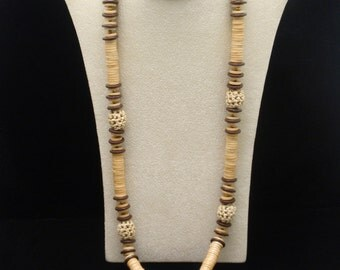 Wooden Bead and Rattan Necklace Vintage Miriam Haskell