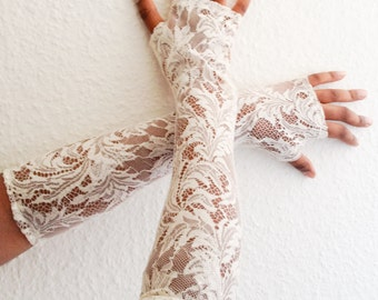 Bridal gloves, opera gloves, Wedding gloves, Victorian style gloves, French  lace gloves, fingerless  gloves , ready to ship,
