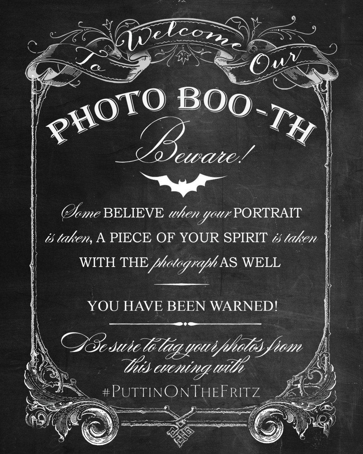 ChalkBoard Photo Booth Printable Sign for Halloween Horror