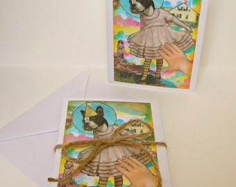 Set of 5 Blank Inside Note Cards - Dancing Fiona - Anthropomorphic, art card, dog