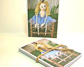 Set of 5 Blank Inside Note Cards - Gnarly Alice in Wonderland - Art Card, Art Doll
