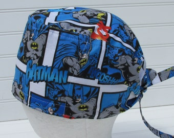 Batman surgical scrub hat, chemo hat, scrub hat, cancer hat with a built in terrycloth sweat band. Handmade.