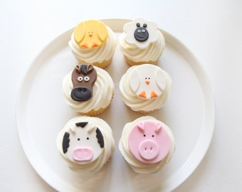 Farm Animal Cupcake Toppers   Fondant