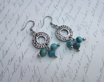 Hammered circle earrings with turquoise agate stone drops